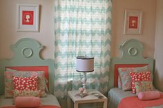this would be so cute for a little girls room but maybe with one queen bed instead of two twins