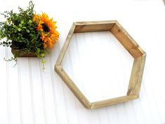 The geometric trend is wide spreading, which makes this hexagon shelf an excellent addition to your modern industrial or modern farmhouse inspired home! Rustic Outdoor Decor, Rustic Bathroom Decor, Kitchen Decor, Bedroom Decor, Types Of Furniture, New Furniture, Furniture Making, Geometric Shelves, Hexagon Shelves