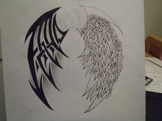 i started out doing angel and devil wings but i didnt really like how it was going and allot of other people have done that so i came up with tribal and. tribal and feather wings Feather Drawing, Runes, Feathers, Fun Stuff, Tattoo Ideas, Coloring, Therapy, Ink, Google Search