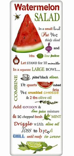 Summer Watermelon Salad Recipe 100% Cotton Flour Sack Dish Towel Tea Towel