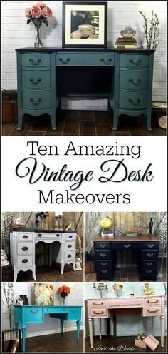 A collection of ten amazing vintage desk makeovers using paint, stain, and decoupage. Find your painted vintage desk inspiration here.