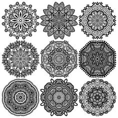 mandala black and white: Circle lace ornament, round ornamental geometric doily pattern, black and white collection Illustration