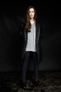 Knitted jumper with metallic detail, oversized, quilted coat, navy leggings and studded Chelsea boots, all Carolyn Donnelly The Edit Navy Leggings, Chelsea Boots, Jumper, What To Wear, Metallic, Women Wear, Dressing, Detail, Coat
