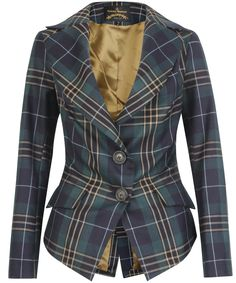 Vivienne Westwood Anglomania Green Jabot Tartan Jacket in Blue (green) | Lyst