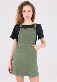 41b5f06f Khaki+Suede+Dungaree+Pinafore+Dress Dungaree Dress, Dungarees, Dress Shirts