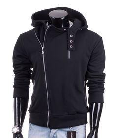 Czarna rozpinana bluza męska Carlo Lamon z dużym kapturem i kieszeniami zapinanymi na zamek. http://lamon.pl/product-pol-5329-Czarna-rozpinana-bluza-meska-Carlo-Lamon.html