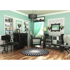tiffany blue and black nursery...add penguin decals :) - Click image to find more Kids Pinterest pins