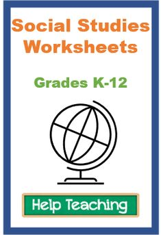 K-12 social studies worksheets cover ancient history through current events with many worksheets focusing on U.S. history and world events. #socialstudies #ushistory #worldhistory Social Studies Worksheets, School Worksheets, Free Printable Worksheets, High School World History, Critical Thinking Skills, Interactive Activities, Help Teaching, Ancient History, Current Events