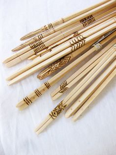 Set of six handmade wood chopsticks with woodburning and/or copper riveting - wedding / host / gift / housewarming present. $140.00, via Etsy.