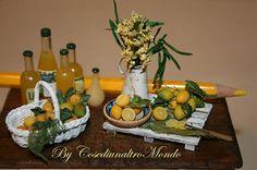 Dollhouse miniatures Handwoven Lemon basket