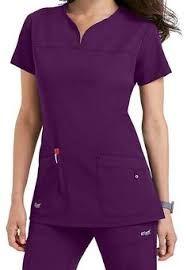 Scrubs and Beyond Greys Anatomy Signature Notch Neck 2 Pocket Scrub Tops In Poppy size Small Dental Uniforms, Work Uniforms, Spa Uniform, Scrubs Uniform, Dental Scrubs, Medical Scrubs, Nursing Scrubs, Cute Scrubs, Greys Anatomy Scrubs