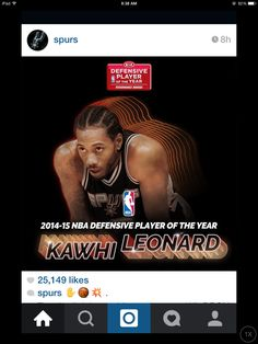 From the Instagram feed of @spurs. spurs forward Kawhi Leonard named as the 2014-2015 KIA Defensive Player of the Year.