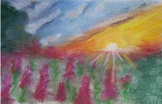 Sunset with flowers Sonnenuntergang über Blumen Pastell
