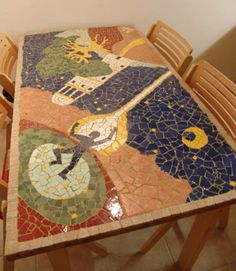 """""""This is my first mosaic. I made it by Goris Goris Lisac Mosaic table Mosaic Furniture, Mosaic Tiles, Stained Glass, Kids Rugs, Ceramics, Quilts, Blanket, Stone, Gallery"""