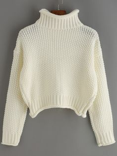 Beige Turtle Neck Crop Sweater
