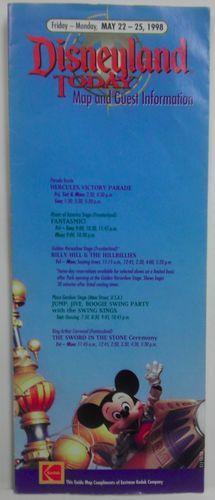 Disneyland Guide May 22-25 1998 vintage Brochure Map Guest Information