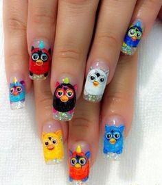 Furby nail art @Meredith Dlatt Dlatt Dlatt Dlatt Williamson What if I legitimately did this?!?!? HAHAHA