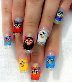 Furby nail art @Meredith Dlatt Dlatt Dlatt Dlatt Williamson What if I legitimately did this?!?!? HAHAHA
