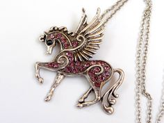 Big Pegasus Necklace in silver with pink rhinestones, horse necklace, girl necklace - pinned by pin4etsy.com