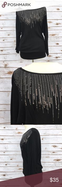 """White House Black Market Black Sequin Top Classy and chic black metallic long sleeve top by White House Black Market. ▪️28"""" long ▪️In great condition  🚭 Smoke-free home 📬 Ships by next day 💲 Price negotiable  🔁 Open to trades  💟Happy Poshing!💟 White House Black Market Tops"""