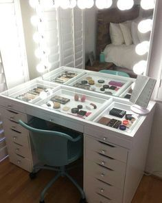 Impressions vanity GlowXLPro & SlayStation with Ikea Alex drawers. - - Impressions vanity GlowXLPro & SlayStation with Ikea Alex drawers. ❤️❤️❤️ Eyelashes Tips Styles Tutorial 2019 Eyelashes ideas Tips and Tutorials for W. Decor Room, Bedroom Decor, Home Decor, Bedroom Storage, Bedroom Drawers, Wall Decor, Ikea Makeup Vanity, Make Up Vanity Ikea, Makeup Vanity Tables