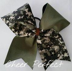 Support our troops. Army tick tock cheer bow by CheerPerfect