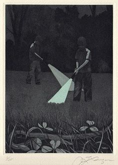 Hunting for Earthworms, Etching & Aquatint, by Master Printmaker James Lorigan
