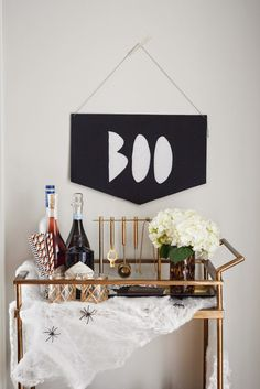 DIY Boo Banner - looks perfect over this haunted Halloween bar cart. Modern Halloween, Halloween Signs, Halloween Costumes For Kids, Halloween Crafts, Haunted Halloween, Farmhouse Halloween, Chic Halloween, Thanksgiving Home Decorations, Easy Halloween Decorations