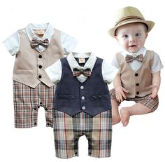 1pcs Baby Boys Infant Gentleman suit bodysuit with tie Rompers Clothes Outfits in Clothing, Shoes & Accessories | eBay