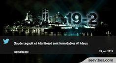 28 Janvier 2013: Retour fracassant de 19-2 hier sur Radio-Canada qui fait des vagues sur les médias sociaux, 216 retweets au Québec pour le message de soutien de Guya Lepage - #Seevibes #TopRetweet #Twitter #19-2 - https://twitter.com/guyalepage/status/296085601390833665