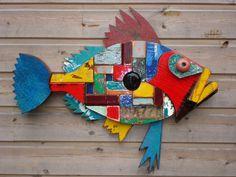 DSC05568 Wooden Fish, Wooden Wall Art, Fish Wall Art, Fish Art, Wood Crafts, Diy And Crafts, Fabric Fish, Driftwood Fish, Animal Art Projects