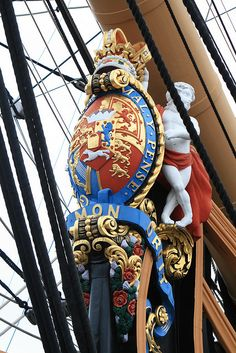 """HMS Victory """"honi soit qui mal y pense"""" - """"Shame be to him who thinks evil of it."""" Probably best known as the motto of the British chivalric Order of the Garter."""