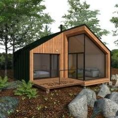 How to Build a Small Cabin on a Tight Budget! Building A Small Cabin, Casas Containers, Tiny House Cabin, Forest House, Small House Design, Small Cabin Designs, Little Houses, House In The Woods, Modern Architecture