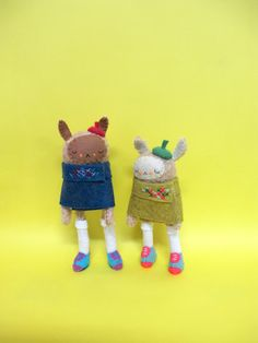 Bff's  Two Miniature Caped Rabbits by catrabbitplush on Etsy, $160.00