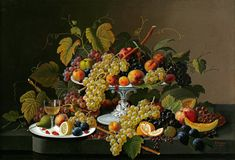 "Severin Roesen : ""Still Life with Fruit and Wine on a Table"" (1853) - Giclee Fine Art Print"