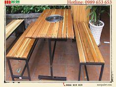 Bộ bàn ghế chân sắt gỗ thông pallet S6