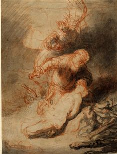 Rembrandt, Abraham's sacrifice; Abraham kneeling over his bound and naked son Isaac whose head is thrust back, an angel behind Abraham clutches his hand which has loosened its hold of the knife. c.1634-5. Red chalk, touched with black chalk and grey wash, on pale brown prepared paper. Verso: Uninterpretable sketch Red chalk