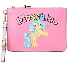 Moschino Clutch (€220) ❤ liked on Polyvore featuring bags, handbags, clutches, pink, pink clutches, zipper handbags, pink purse, moschino and moschino purse