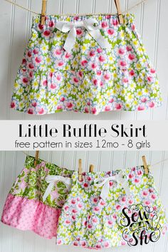 Sewing For Kids Clothes Show Off Saturday: a few more Little Ruffle Skirts — SewCanShe Girls Skirt Patterns, Toddler Sewing Patterns, Sewing Kids Clothes, Skirt Patterns Sewing, Sewing For Kids, Baby Sewing, Free Sewing, Skirt Sewing, Sewing Coat