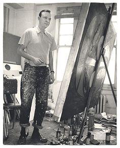 Robert Motherwell painting in his studio on Fourteenth St, New York. 1952
