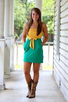 50 Yardline Gameday Dress- Green and Gold -- looks like #Baylor to me! #SicEm ($37.00 from hazelandolive.com)