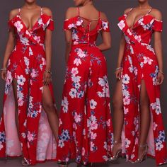 High Slit Tied Back Floral Maxi Romper Dress Maxi Romper, Floral Jumpsuit, Floral Maxi, Cruise Outfits, Dope Outfits, Womens Fashion Online, Classy Women, African Fashion, Beautiful Dresses