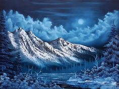 """A Bob Ross Blue Christmas"" Oil on 18x24in Canvas 