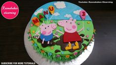 peppa pig george pig birthday cake design ideas for children boys girls . Cartoon Birthday Cake, Easy Kids Birthday Cakes, Animal Birthday Cakes, Easy Cakes For Kids, Birthday Cake Gift, Frozen Birthday Cake, Peppa Pig Birthday Cake, 3rd Birthday, Friends Birthday Cake
