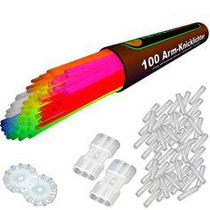 100 Arm-Knicklichter der Spitzenklasse, KNALLBUNT - 7 Farbmix (205x5mm) inkl. 100 TopFlex-, 2 Dreifach- und 2 Ball-Verbindern, deutsche Prüfnote 1,4