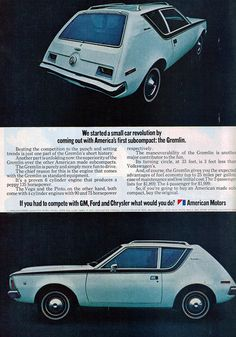 1971 American Motors Gremlin - ugly huh?(A great aunt of mine had one. She drove the ugly thing for-ever!  Asw)