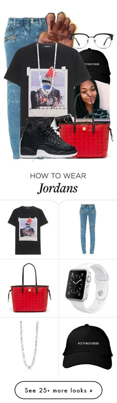 """Everyday - A$AP Rocky ✊"" by aniahrae on Polyvore featuring Balmain, tarte, Dsquared2, Apple, MCM, NIKE, GlassesUSA and BERRICLE"