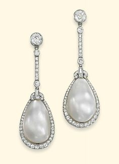 Natural pearl and diamond earrings circa 1920 - via Christie's