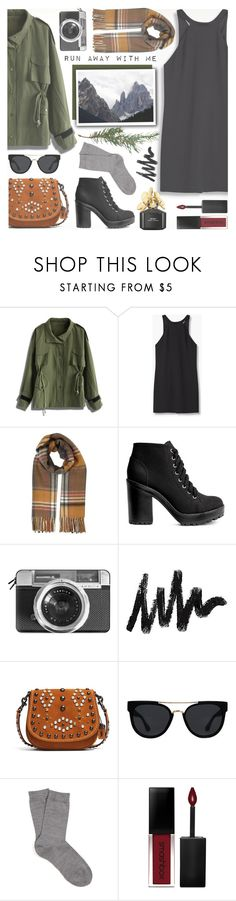 """""""Run Away With Me"""" by anilovic ❤ liked on Polyvore featuring Chicwish, MANGO, Miss Selfridge, H&M, Casetify, Coach 1941, Quay, Falke, Smashbox and Marc Jacobs"""