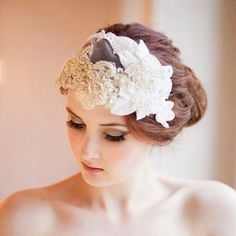 Vintage Milliner's Lace and Velvet  Bridal Cap by MillesimeBride, £235.00